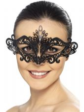 Black Metal Filigree Swirl Eye Mask